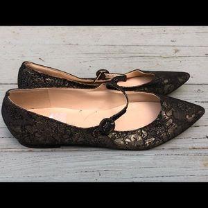 Marc Fisher Black lace flat ankle strap